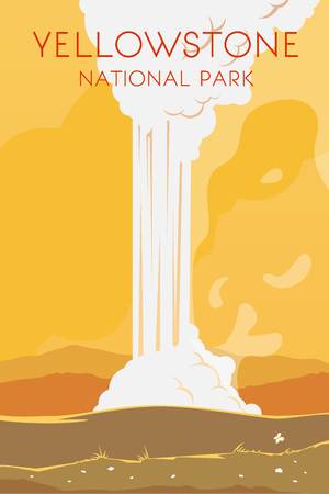 Vector retro poster. Yellowstone national park. Flat design