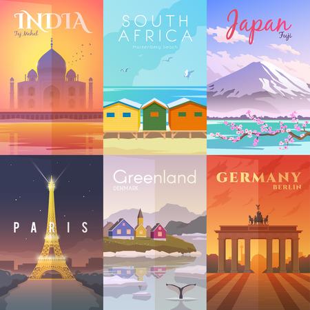 벡터 복고풍 포스터를 설정합니다. 타지 마할, 인도. Muizenberg 해변, 남아 프리 카 공화국. 후지산, 일본. 파리 프랑스 그린란드 덴마크 독일 베를린 일러스트