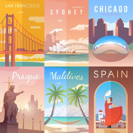벡터 복고풍 포스터를 설정합니다. 샌프란시스코, 미국. 호주 시드니. 미국 시카고 프라하 체코 공화국 몰디브 스페인
