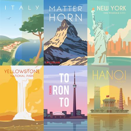 Vector rétro affiches fixées. Italie. Matterhorn, Suisse. New York, Etats-Unis. Parc national de Yellowstone États-Unis Toronto Canada Hanoi Vietnam