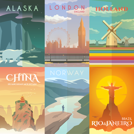 Vector retro posters set. Rio de Janeiro, Brazil. Alaska, USA. London, England Holland Huangshan mountains China Trolltunga Norway Illustration