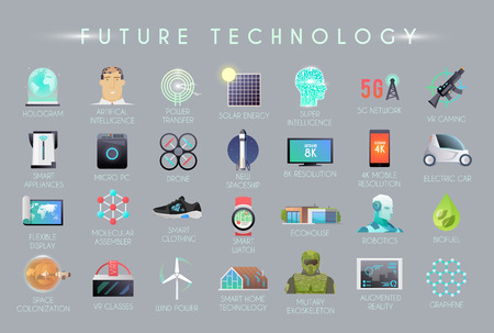Future vector flat icons set. The technology of the future.