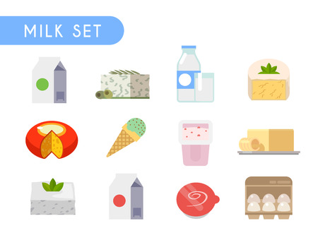 cottage cheese: Set of flat color icons. Dairy products: cheese, cottage cheese, milk, yogurt, ice cream cream eggs butter kefir