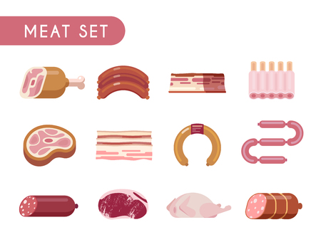spare ribs: Set of flat color icons. Meat products: beef, lamb, pork, chicken, steaks salami sausage spare ribs