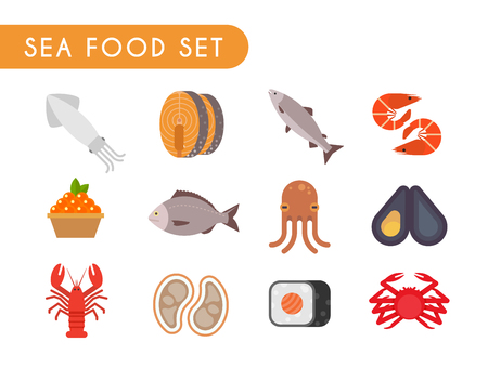 Set of flat color icons. Seafood: fish, shrimp, oysters, squid octopus crab caviar salmon dorado