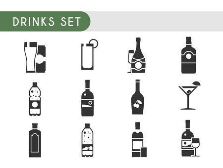 gin: Set vector icons. Drinks: wine, champagne, vodka, whiskey beer gin Martini liquor water soda juice Illustration