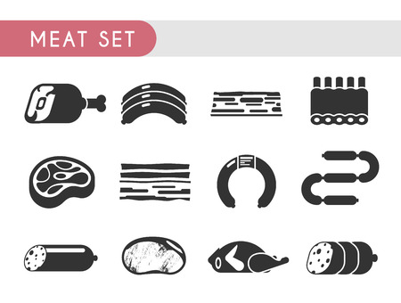 spare ribs: Set vector icons. Meat products: beef, lamb, pork, chicken steaks salami sausage spare ribs Illustration
