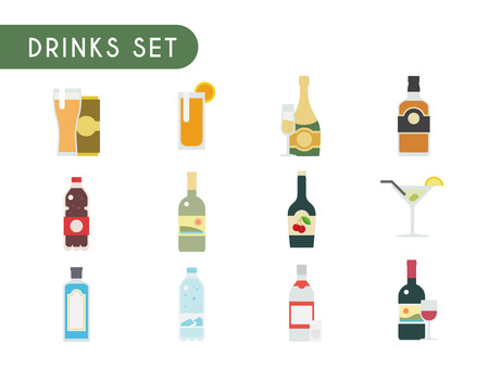 gin: Set of flat color icons. Drinks: wine, champagne, vodka, whiskey, beer gin Martini liquor water soda juice