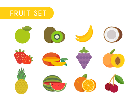 fruition: Set of flat color icons. Fruits: Apple, kiwi, coconut, banana, strawberry mango grape peach pineapple watermelon orange cherry