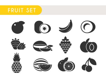 fruit background: Set vector icons. Fruits: Apple, kiwi, coconut, banana strawberry mango grape peach pineapple watermelon orange cherry
