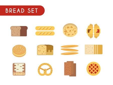 Set of flat color icons. Bread: toast, baguette, pie, pita bread, croissant pastry pretzel ciabatta