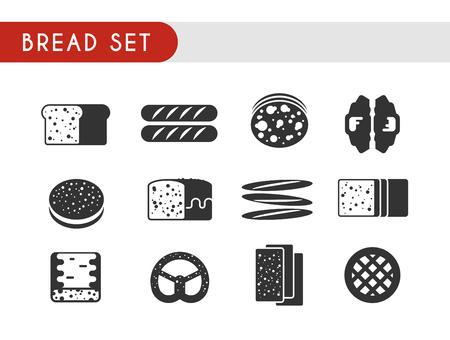 pita bread: Set black vector icons. Bread: toast, baguette, pie, pita bread croissant pastry pretzel ciabatta
