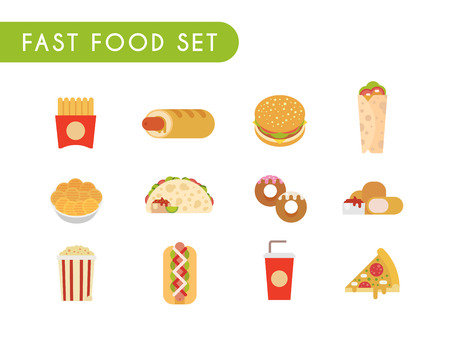 nuggets: Set of flat color icons. Fast food: French fries, French hot dog, hamburger, soda, roll, chips, tacos, donuts chicken nuggets popcorn hot dog pizza