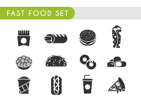nuggets: Set black icons. Fast food: French fries, French hot dog, hamburger, soda, roll, chips, tacos donuts chicken nuggets popcorn hot dog pizza Illustration