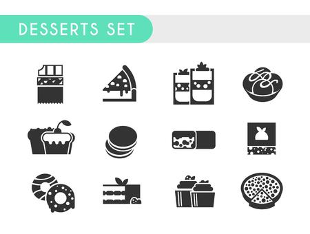 cheesecake: Set black icons. Desserts: chocolate, cheesecake, ice cream, cupcake, muffin pasta chocolate bar brownies donuts tiramisu tarte