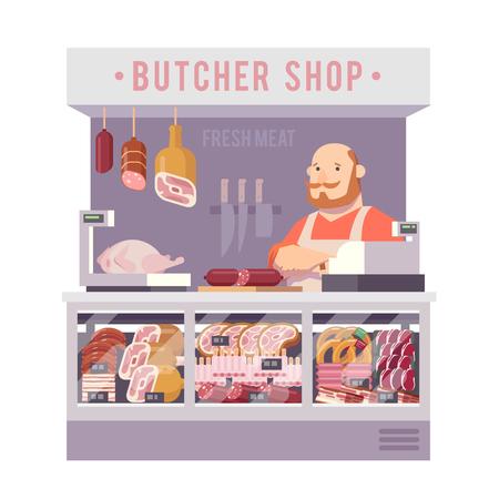 web store: Store meat. Vector web illustration. Flat design