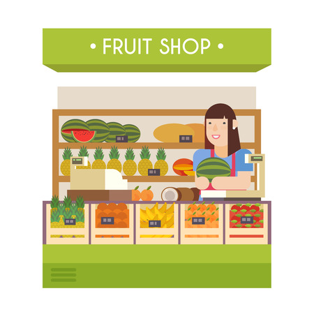 fruition: Fruit shop. Vector flat illustration. Girl seller