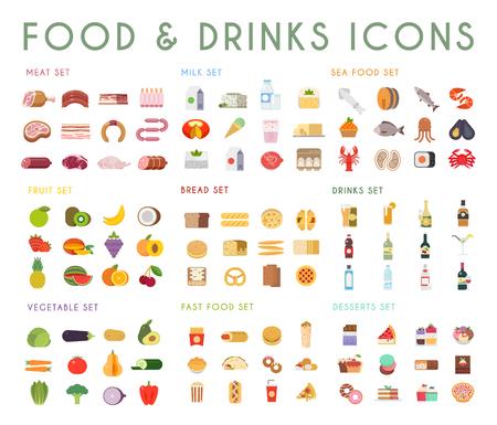 Essen und Trinken flach Vektor-Icons gesetzt. Fleisch, Milch, Brot, Fisch, Obst, Gemüse, Alkohol Fast-Food-Dessert