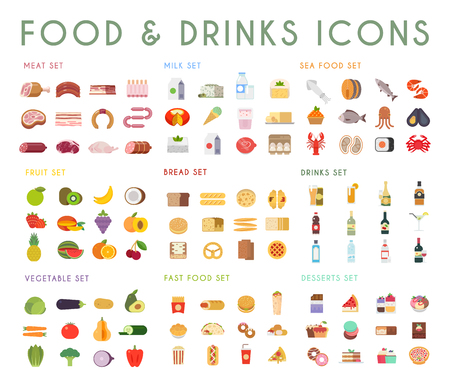 Eten en drinken plat vector iconen set. Vlees, melk, brood, vis, fruit, groenten, alcohol fast food dessert