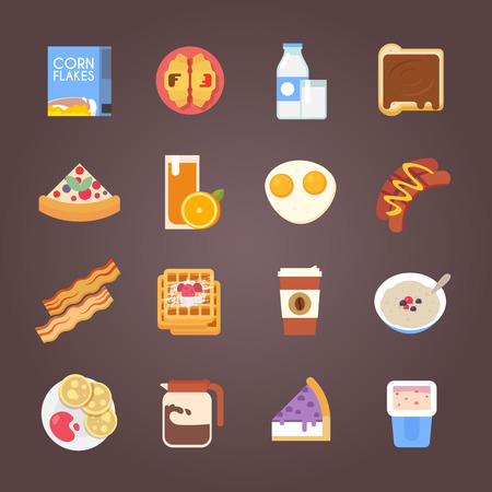 corn flakes: Breakfast flat icons. Corn flakes, cereal, juice, milk, coffee eggs cake sausages pancakes bacon Vector illustration