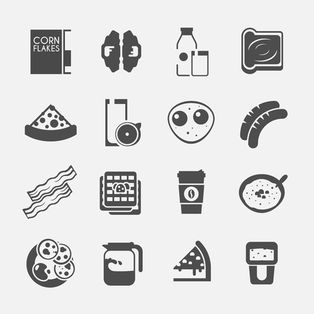 corn flakes: Breakfast black icons. Corn flakes, cereal, juice, milk, coffee eggs cake sausages pancakes bacon Vector illustration