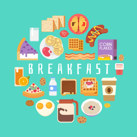 Breakfast composition. Corn flakes, cereal, juice, milk, coffee eggs cake sausages pancakes bacon Vector illustration