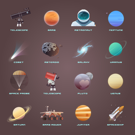 colonization: Vector flat icons on the theme: astronomy, space flight, space exploration, colonization, space technology. The web banner. Space icons.