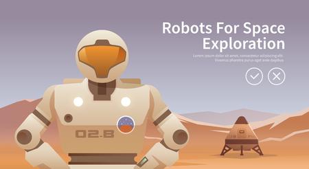 Ilustración del vector en el tema: la astronomía, vuelo espacial, exploración espacial, la colonización, la tecnología espacial. La bandera de la tela. Robots para el espacio. Ilustración de vector