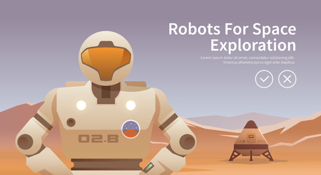exploration: Vector illustration on the theme: astronomy, space flight, space exploration, colonization, space technology. The web banner. Robots for space.
