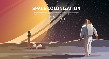 Ilustración del vector en el tema: la astronomía, vuelo espacial, exploración espacial, la colonización, la tecnología espacial. La bandera de la tela. La colonización del espacio