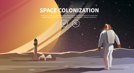 Vector illustration on the theme: astronomy, space flight, space exploration, colonization, space technology. The web banner. Space colonization