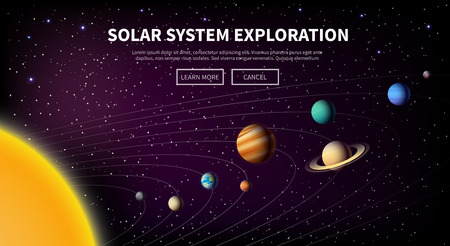 our: Vector illustration on the theme: astronomy, space flight, space exploration, colonization, space technology. The web banner. Solar system