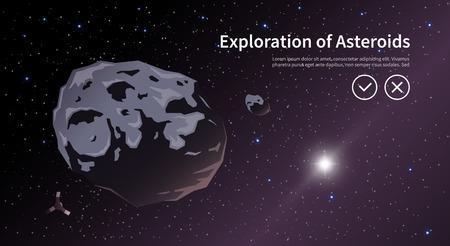 ベクトルをテーマにイラスト: 天文学、宇宙飛行、宇宙探検、植民地化、宇宙技術。Web バナーです。小惑星  イラスト・ベクター素材