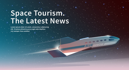 Vector illustration on the theme: astronomy, space flight, space exploration, colonization, space technology. The web banner. Space tourism