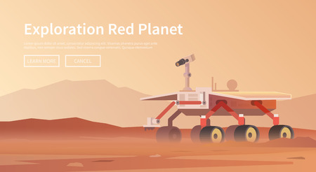 Vector illustration on the theme: astronomy, space flight, space exploration, colonization, space technology. The web banner. Mars rover Illustration