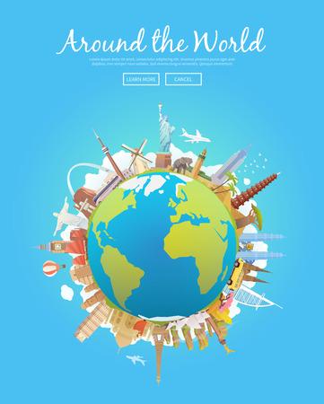 Travel the world - landmarks illustration on the globe.