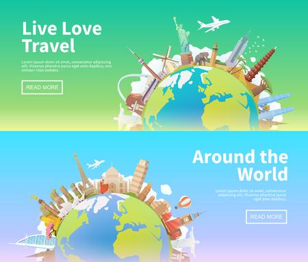 Viaja por el mundo - diferentes puntos de referencia en el mundo.