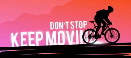 Motivational concept silhouette of a biker.