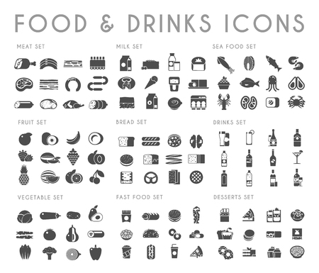Food and drink black vector icons set. Meat, milk, bread, seafood, fruits, vegetables, alcohol fast food dessert
