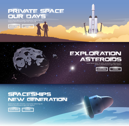 Vector illustrations on the theme: astronomy, space flight, space exploration, colonization, space technology. The web banners. Private spaces. Asteroids. Spaceships of the new generation.