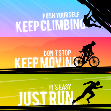 Vector sports web banner. Motivational concept. The silhouette of the biker. Runner silhouette. Running man. The silhouette of the climber. Extreme outdoor sports. Illustration