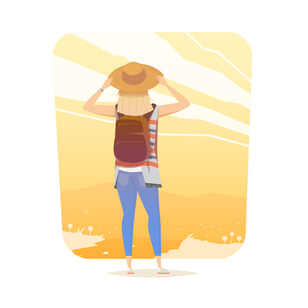 travel woman: Young woman walking alone on a mountain trail. Girl looks at a sunset. Adventure travel. Summer vacation. Around the world. Cartoon style. Vector illustration.