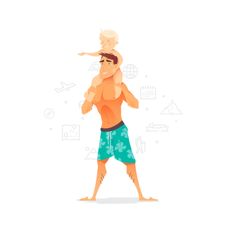 A man with a child on the beach. Summer vacation. The rest of the sea. A father and his son. Vector illustration.