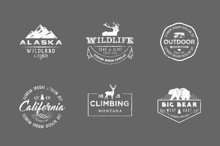 野生動物、自然、狩猟、旅行、野生の自然、登山、キャンプ、山、生存レトロ、ビンテージ、カジュアルなデザインでの生活をテーマにプレミアム   イラスト・ベクター素材