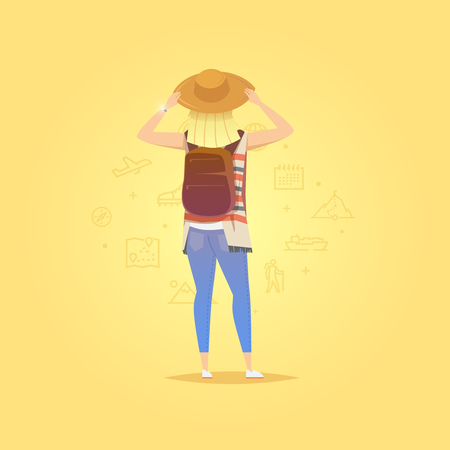 Young woman walking alone. Girl looks. Adventure travel. Summer vacation. Around the world. Cartoon style. Vector illustration. Stock Photo