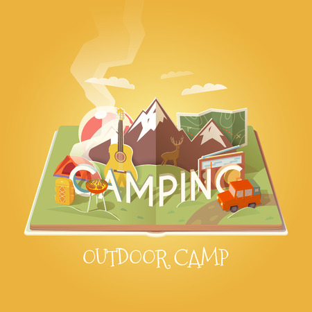 paper graphic: Vector 3D Paper Graphics. Open book with camping objects. Mountain landscape. Outdoor pursuits. Adventures in nature, vacation. Cardboard Graphic. Camping illustration. Flat style. Stock Photo