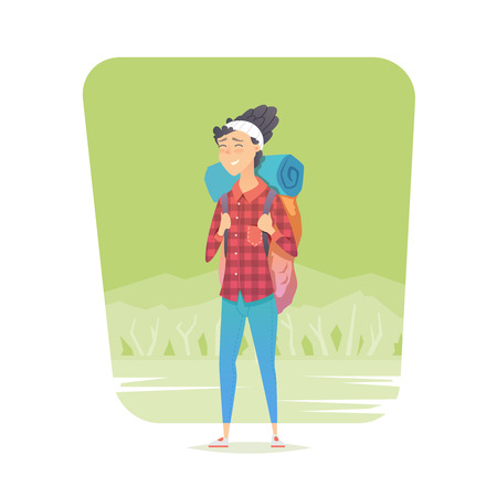 Young woman walking alone on a forest trail. Adventure travel. Summer vacation. Around the world. Cartoon style. Vector illustration. Stock Photo