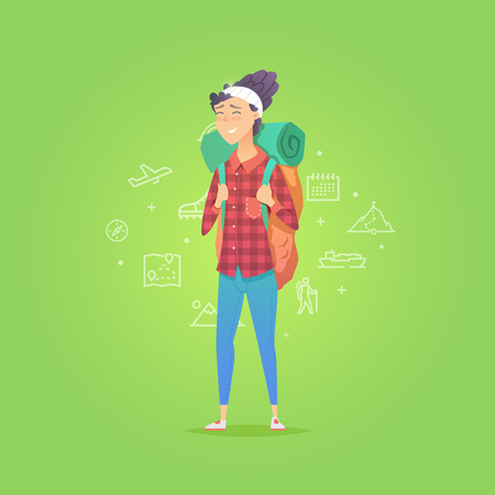 Young woman walking alone. Adventure travel. Summer vacation. Around the world. Cartoon style. Vector illustration. Stock Photo