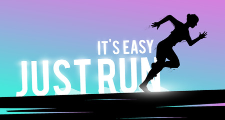 motivated: Vector sports web banner. Motivational concept. The silhouette of the biker. Runner silhouette. Running woman. Extreme outdoor sports. Stock Photo