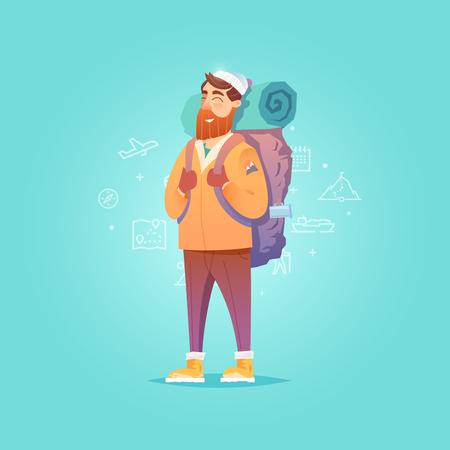 Young man walking alone. Adventure travel. Summer vacation. Around the world. Cartoon style. Vector illustration.